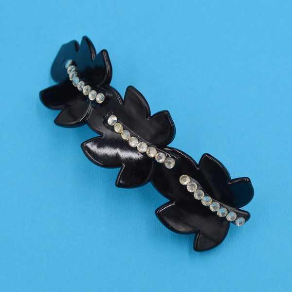 Заколка для волос автомат металл черный пластик лимонные стразы 10.5х3.3 см