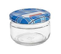Банка стеклянная для консервации 100 мл. с синей металлической крышкой закрутка типа твист-офф   Everglass
