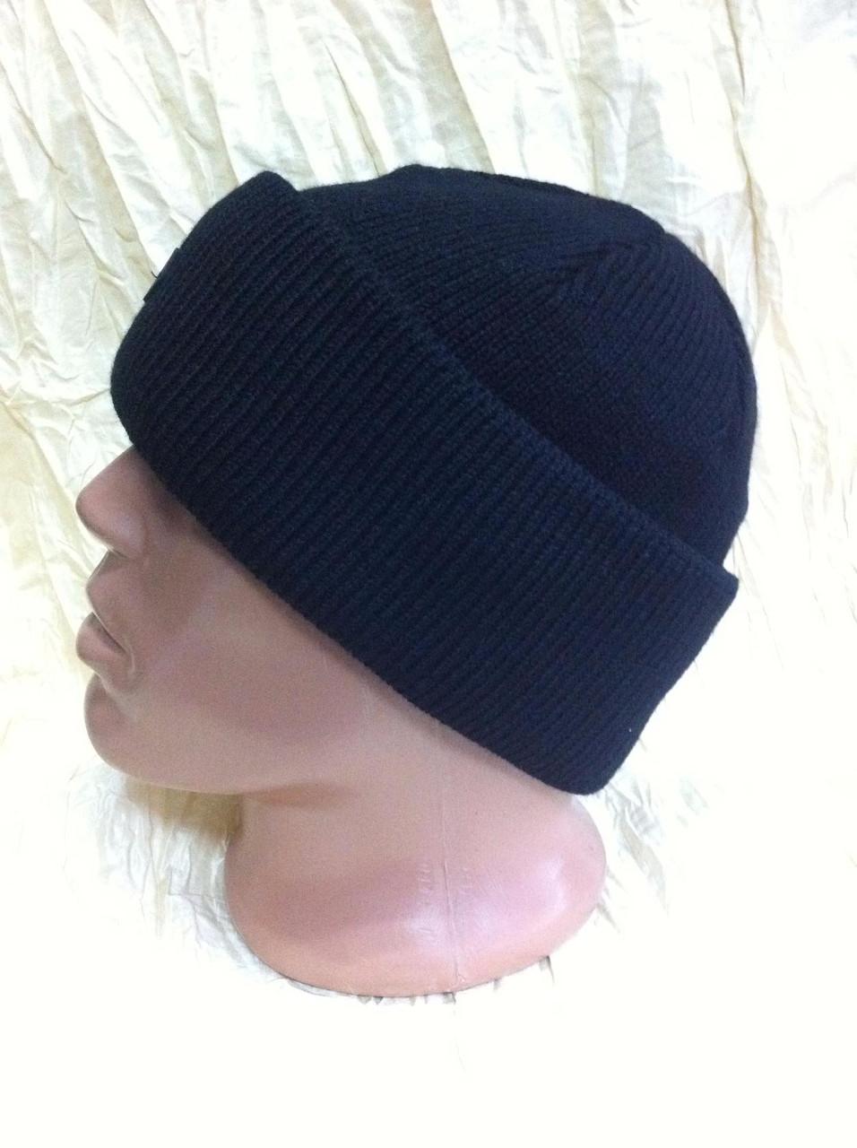 мужская вязанная шапка двойная с отворотом  большого размера