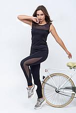 Костюм для фитнеса со вставками сетки черный, фото 3
