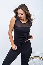 Костюм для фитнеса со вставками сетки черный, фото 2