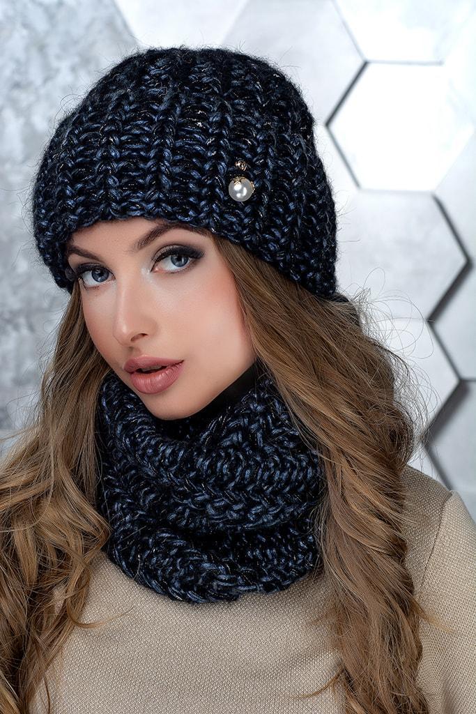 Комплект (шапка и снуд-хомут) Flirt Манго One Size черно-синий1015