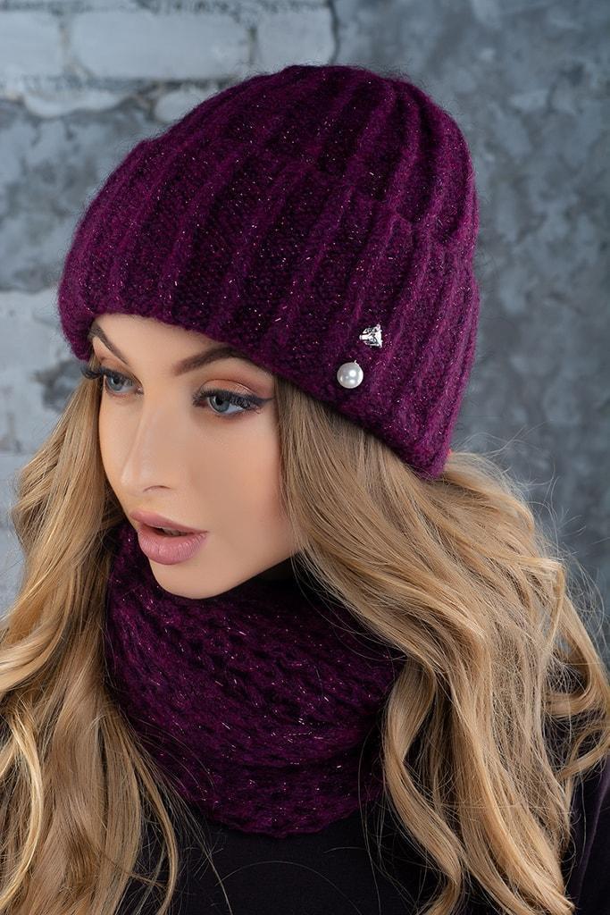 Комплект (шапка и снуд-хомут) Flirt Лика-Морган 9999  One Size марсала 1016