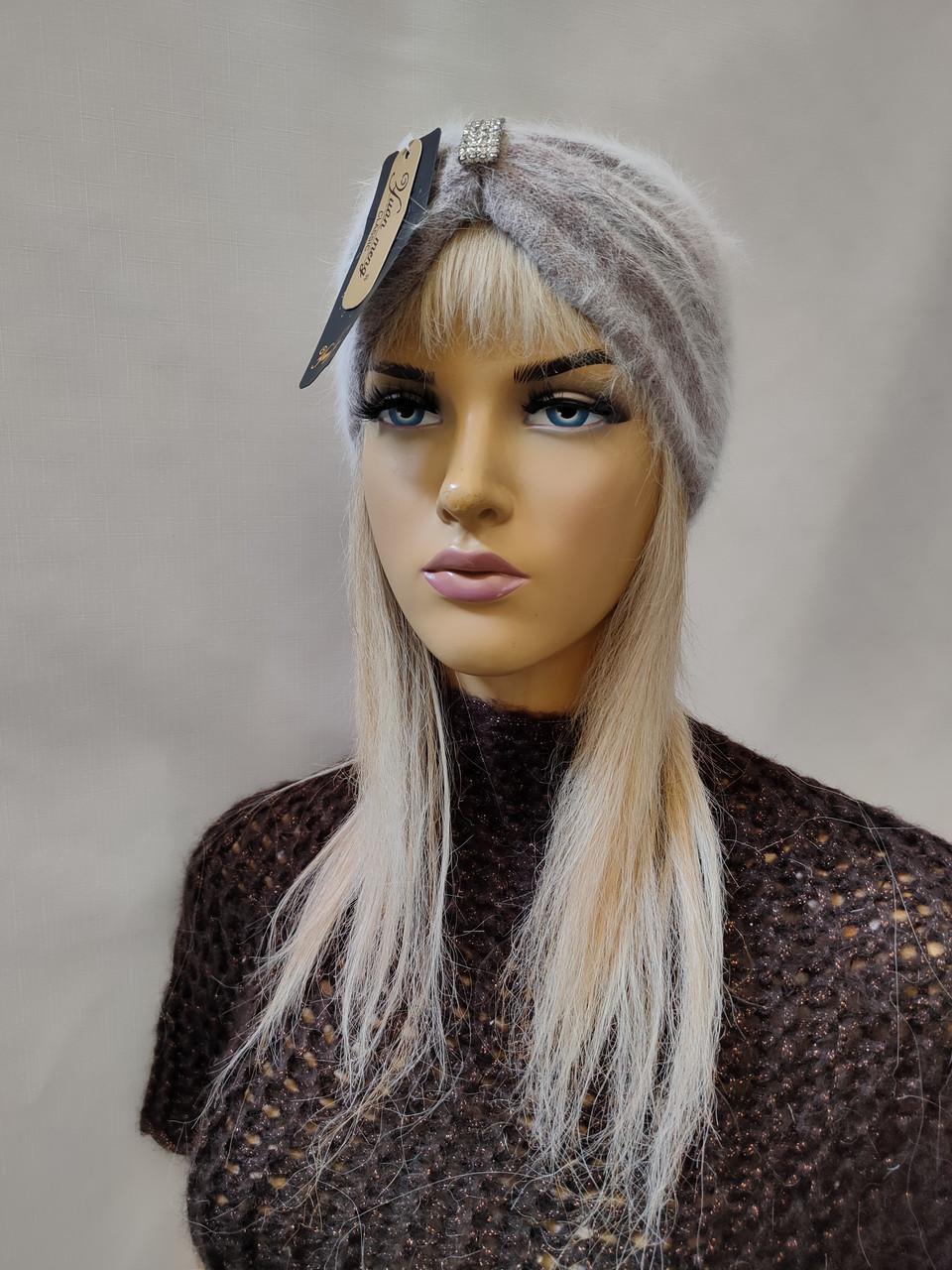 Повязка на голову из  ангоры YUAN MENG 0369 серый