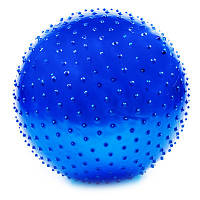 Мяч для фитнеса 65 см массажный серебро + насос Фитбол Синий