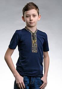 Оригинальная детская вышитая футболка «Казацкая (зеленая вышивка)»