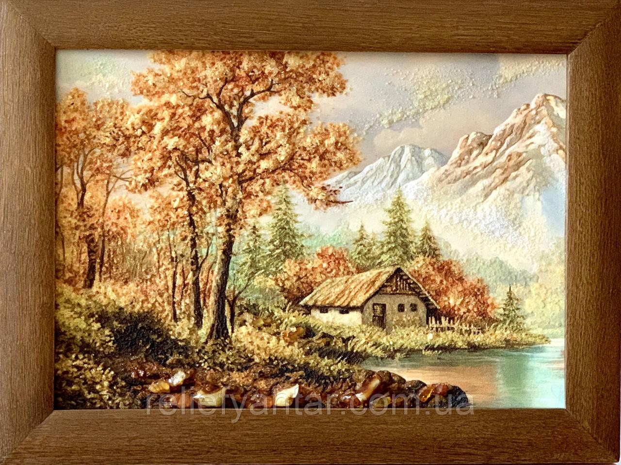 """Картина пейзаж из янтаря """" Домик в горах """" 30x40 см"""
