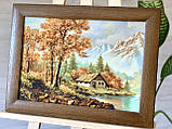 "Картина пейзаж из янтаря "" Домик в горах "" 30x40 см, фото 2"