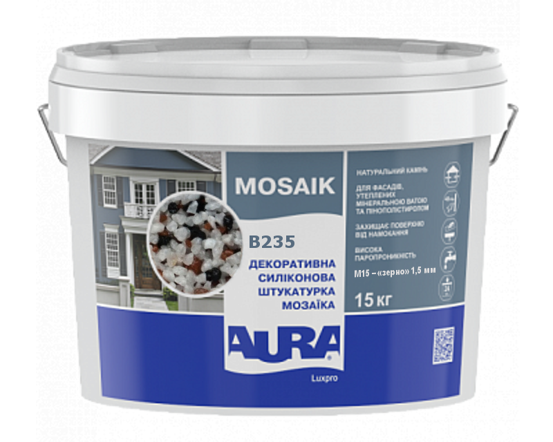 Штукатурка кварцевая AURA LUX PRO MOZAIK M15 мозаичная (зерно 1,5 мм) B235 15кг
