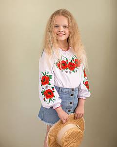 Вышиванка для девочки с маками и пышными рукавами «Маковое поле»