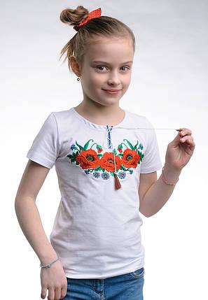 Вышитая футболки для девочки с маками на груди «Маковое поле», фото 2