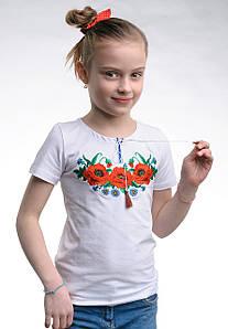 Вышитая футболки для девочки с маками на груди «Маковое поле»