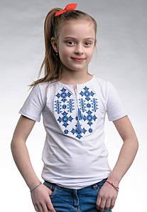 Вышитая футболка для девочки белого цвета «Звездное сияние (синий)»
