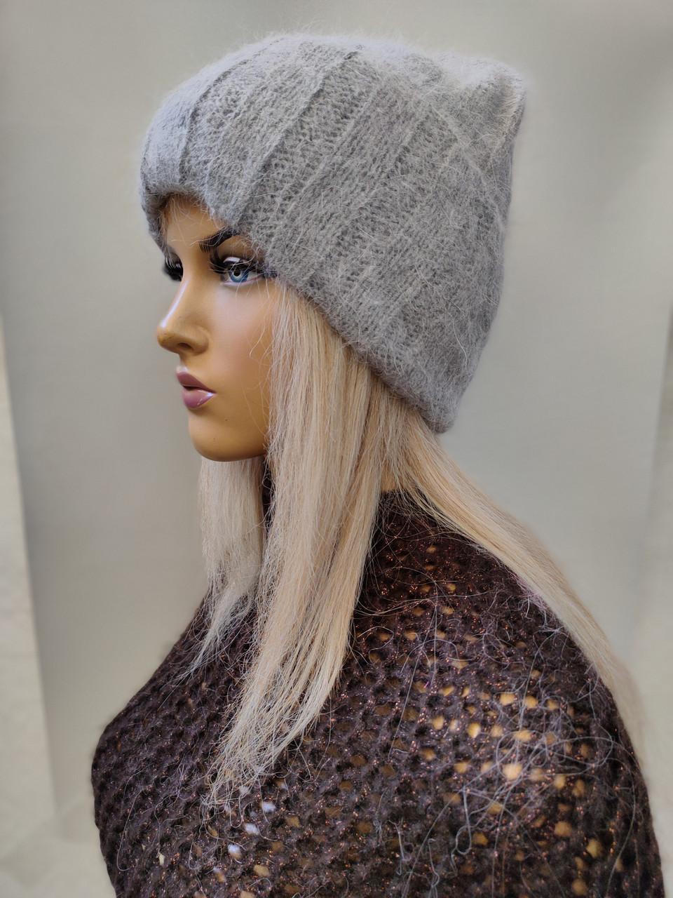 Шапка из ангоры Шерри   FAN CAP 2078-0 серый