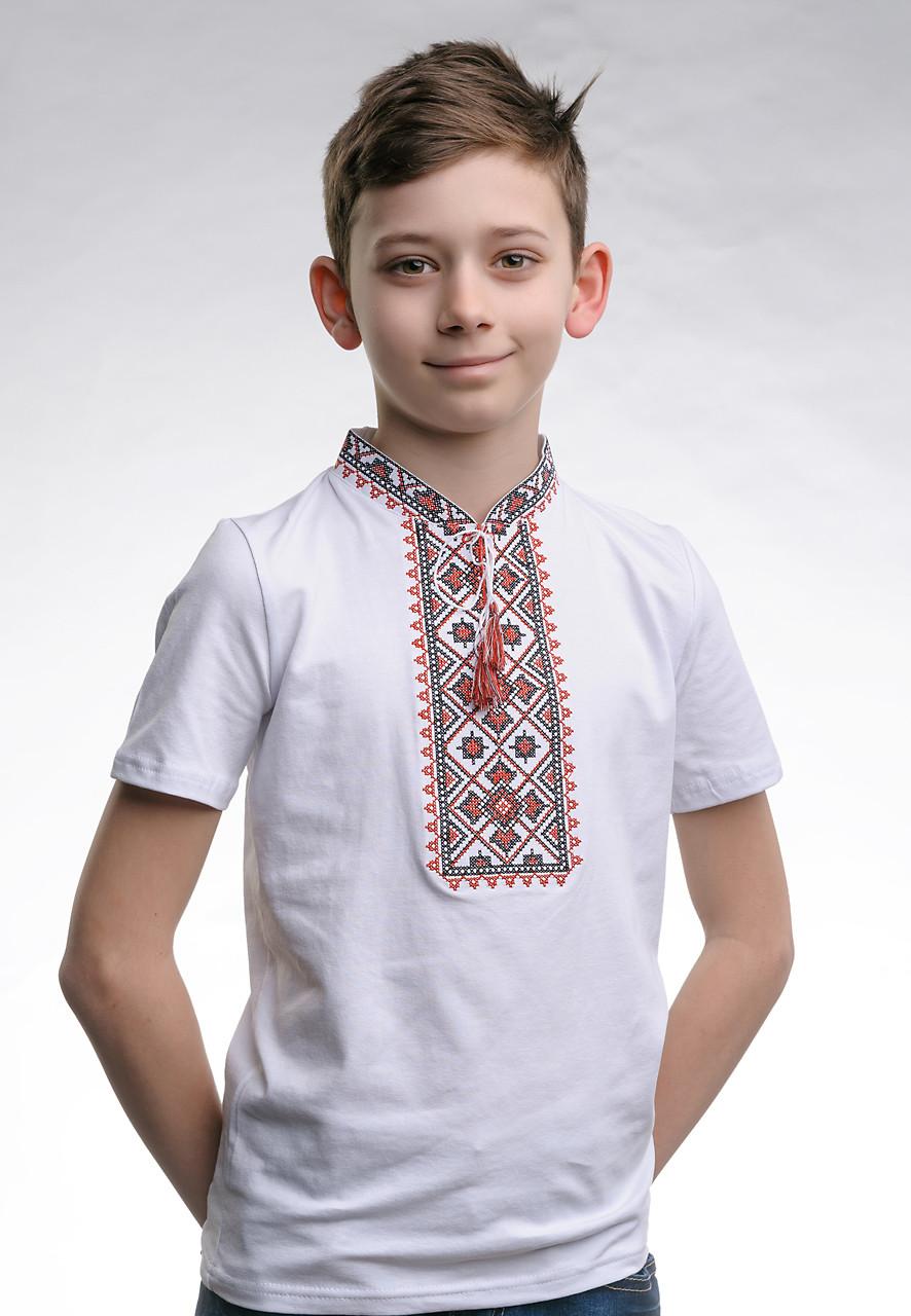 Вышитая футболка для мальчика с коротким рукавом «Звездное сияние (красная вышивка)»