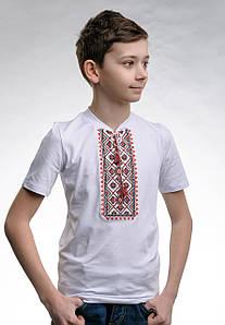 Детская вышиванка для мальчика с коротким рукавом с V-образным вырезом «Звездное сияние (красная вышивка)»