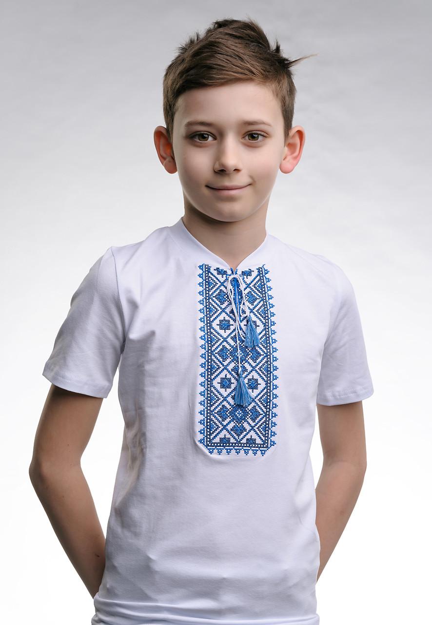 Вышиванка для мальчика с V-образным вырезом «Звездное сияние (синяя вышивка)»