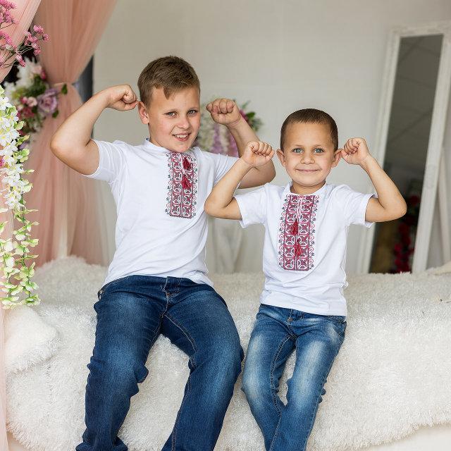 Повседневная вышитая футболка для мальчика белого цвета с красной вышивкой «Дем'янчик»