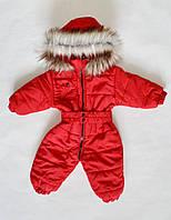 Детский зимний комбинезон для девочки от 0 до 1.5 года, цельный, человечек, красный, фото 1