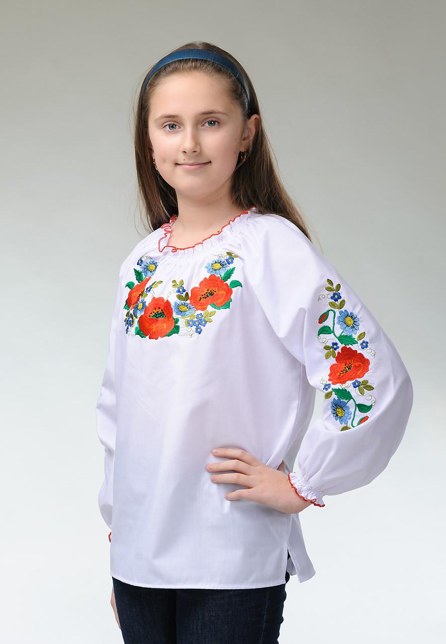 """Вышитая блузка для девочки с маками """"Украинские краски»"""