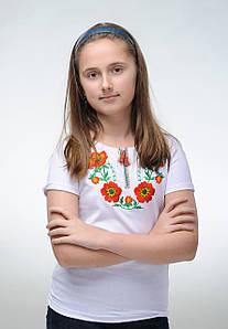 Вышитая детская футболка белого цвета с цветочным орнаментом «Красочные маки»
