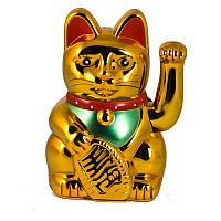 Кошка манеки-неко пластик на батареях 18 см золотой (4718), фото 1