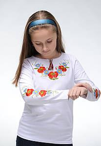Модная детская футболка с вышивкой белого цвета «Маки-ромашки»