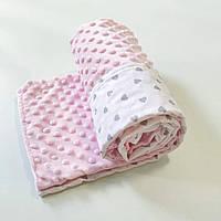 Плед для новорожденного в коляску 80х100 плюш розовый