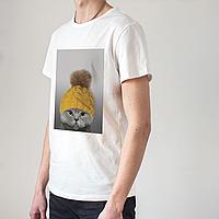 Мужская белая футболка с котом