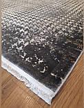 Серый ковер из бананового шелка с современным рисунком, фото 3