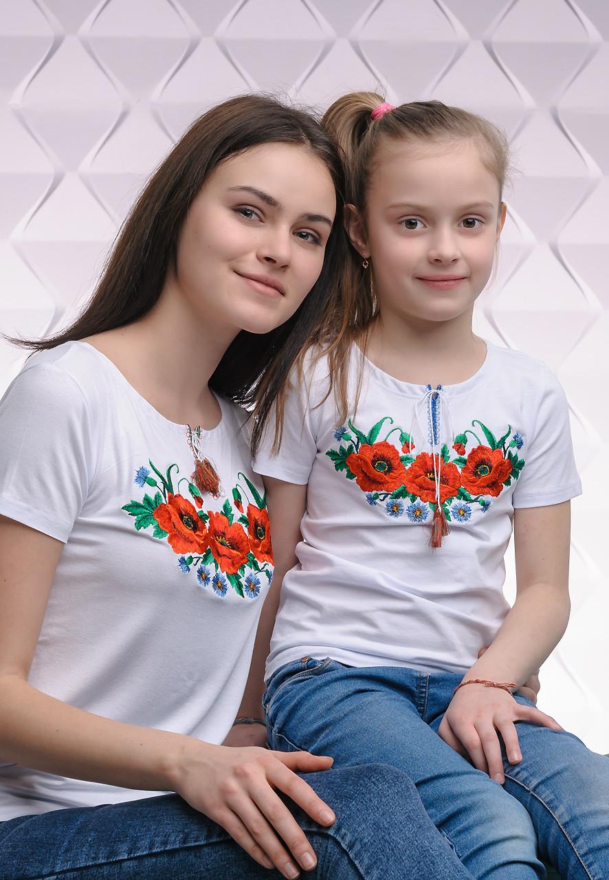 Комплект вышитых футболок для мамы и дочки «Маковое поле»