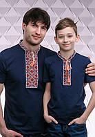 Комплект вышитых футболок для отца и сына «Казацкая (красная вышивка)»