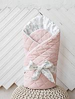 """Велюровый конверт-одеяло на выписку из роддома """"Tessera"""" розовый, фото 1"""