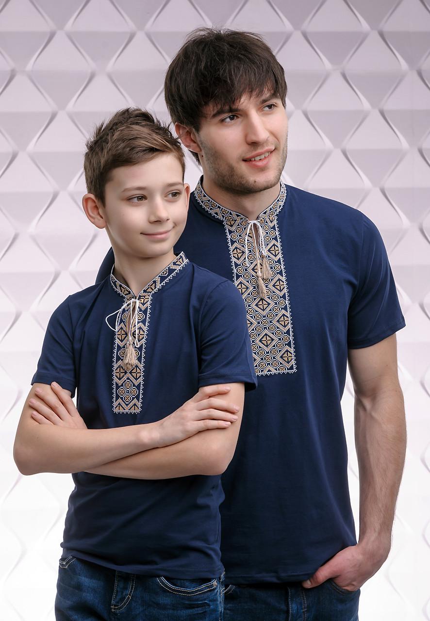 Комплект вышитых футболок для отца и сына «Казацкая (бежевая вышивка)»