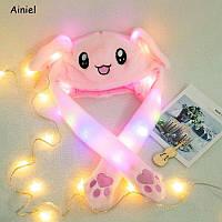 Светящиеся шапка-зайка с двигающимися ушами - розовая