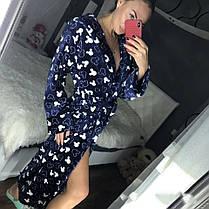 Женский длинный махровый халат синего цвета с капюшоном хит продаж 2020, фото 3