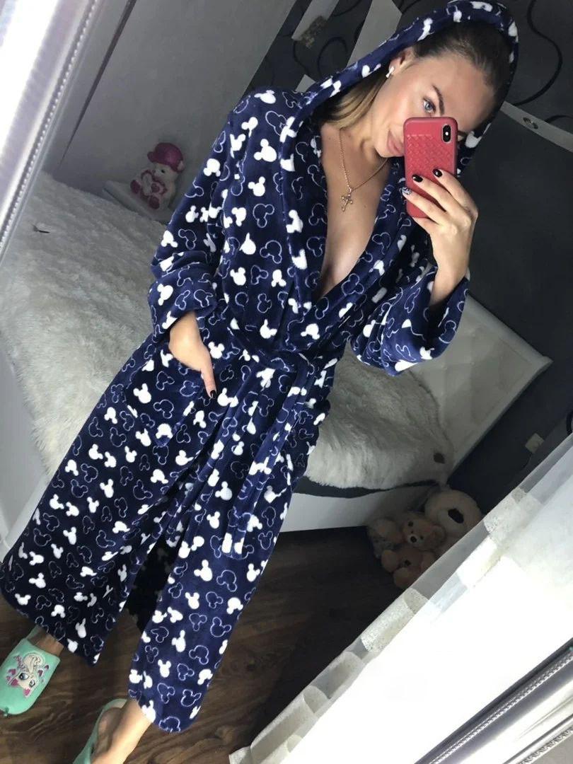 Женский длинный махровый халат синего цвета с капюшоном хит продаж 2020
