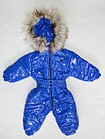 Детский зимний комбинезон для мальчика от 0 до 1.5 года цельный, электрик лаковый, фото 1