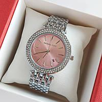 Женские наручные часы серебристого цвета на браслете Michael kors, розовый циферблат, дата - код 1759, фото 1