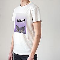 Мужская белая футболка с котом, фото 1