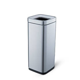 Ведро для мусора без крышки Jah365 квадратное 30л Серебро (Papatya-TM)