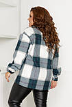 Жіноча сорочка в клітку великих розмірів ( 60 ), тепла жіноча сорочка в клітку великого розміру, Зелений, фото 4