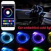 RGB разноцветный Неон в авто, Холодный неон,  Неоновая подсветка, Гибкий неон (Длинна 6 метров, 5 ламп, APP), фото 2
