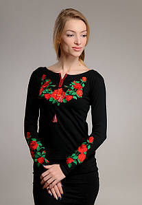 Черная женская вышитая футболка с длинным рукавом с цветами «Роза»