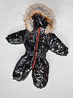 Детский зимний комбинезон на мальчика от 0 до 1.5 года цельный, человечек, черный лак, фото 1