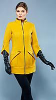 Стильное кашемировое пальто прилегающего силуэта с воротником-стойкой и рукавами длинной в три четверти