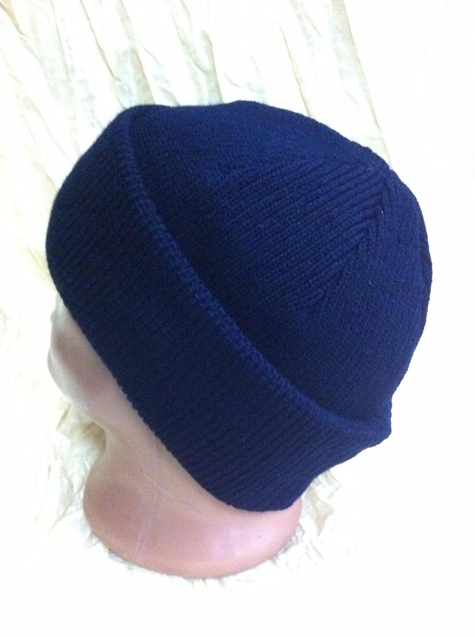 синяя мужская спортивная шапка двойная с отворотом