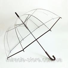 Прозорий посилений напівавтомат зонт трость антиветер з посиленими спицями, фото 3