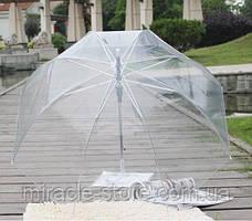 Прозорий посилений напівавтомат зонт трость антиветер з посиленими спицями, фото 2