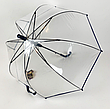 Прозорий посилений напівавтомат зонт трость антиветер з посиленими спицями, фото 4